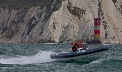 No 18 RIB passes the Needles at the P1 Powerboat RIB race from Lymington 2010.