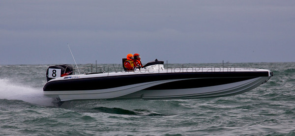 No 8 Bladerunner at the P1 Powerboat Superstock and RIB race from Lymington 2010.