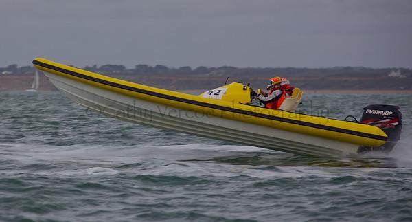No 42 RIB at the P1 Powerboat RIB race from Lymington 2010.