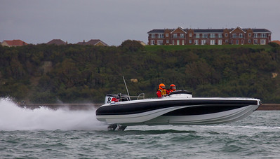 No 8 Bladerunner flies at the P1 Powerboat Superstock and RIB race from Lymington 2010.
