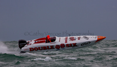 Double Six flies at the P1 Powerboat Superstock race from Lymington 2010.