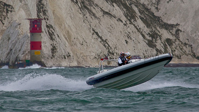 No 14 RIB passes the Needles at the P1 Powerboat RIB race from Lymington 2010.
