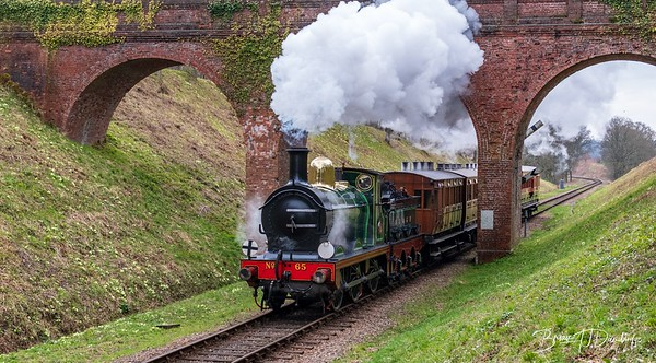 SER Stirling 0-6-0 No.65 at Three Arch Bridge