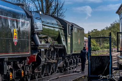 Flying Scotsman at the Bluebell Railway loco-sheds