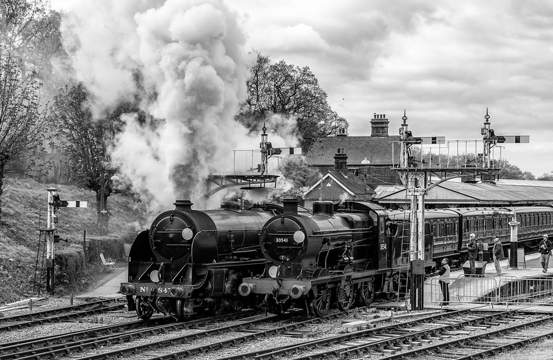 Two classic Maunsell locomotives in steam at Horsted Keynes