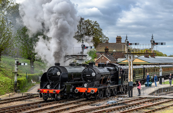 Two Maunsell locomotives in steam at Horsted Keynes Station