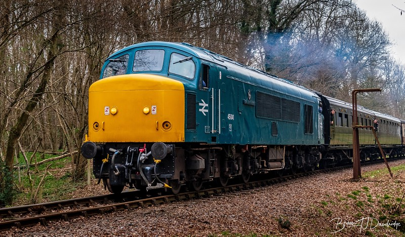 """45041 """"Royal Tank Regiment"""" hauling a train out of Sheffield Park Stn."""