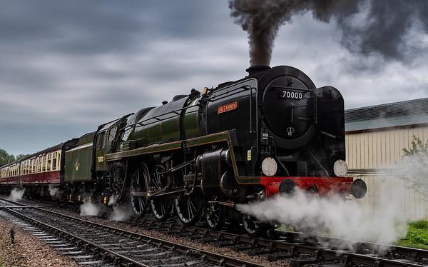 BR Standard Class 7 70000 Britannia pulls away