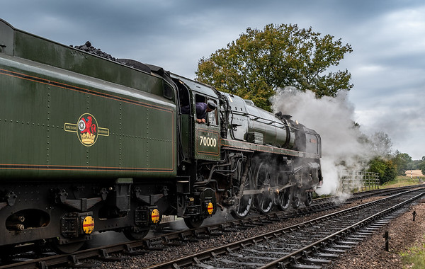 BR Standard Class 7 70000 Britannia departs Sheffield Park Station