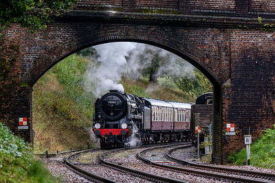 BR Standard Class 7 70000 Britannia heads north from Horsted Keynes