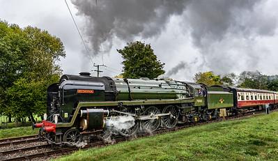 BR Standard Class 7 70000 Britannia approaches Kingscote