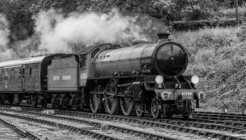 LNER Thompson Class B1 61306 pulls into Horsted Keynes