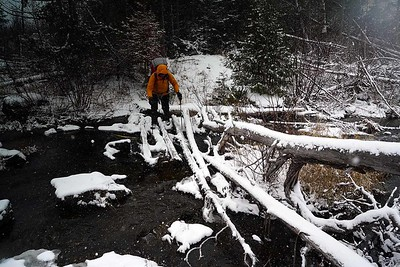 Crossing the overflow is icy.  Trekking poles are indispensable.