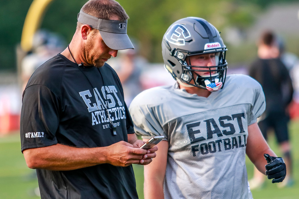. The Cougars of South Lyon East look to improve on a 1-8 season as they practice during the opening week of the 2017 football season. (Oakland Press photo by Timothy Arrick)