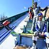 KRISTOPHER RADDER — BRATTLEBORO REFORMER<br /> Tobi Kerschhaggl and Simon Viehhauser, from Austria, examine the Harris Hill Ski Jump, in Brattleboro, Vt., as a jumper goes down the inrun on Friday, Feb. 14, 2020.