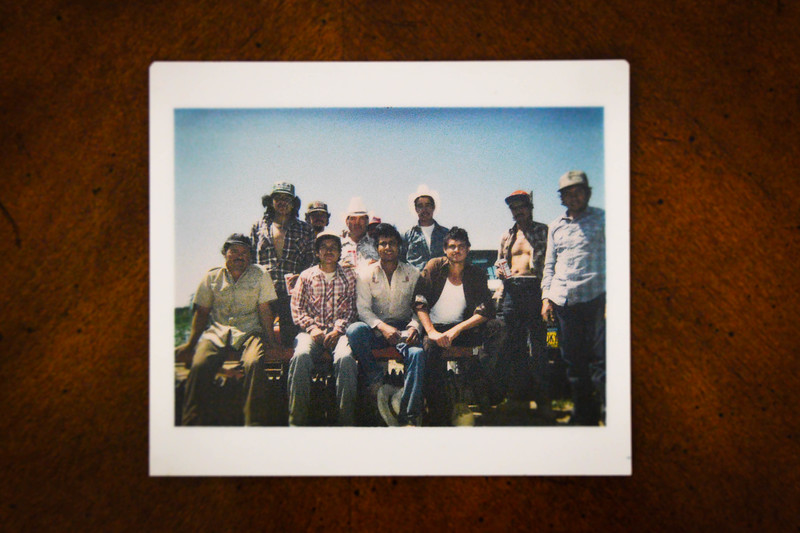 Jose Luis Cisneros, second from left, alongside a crew of migrant farmworkers circa 1984.