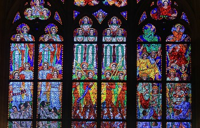 Glass in the St. Agnes Chapel, St. Vitus Cathedral.