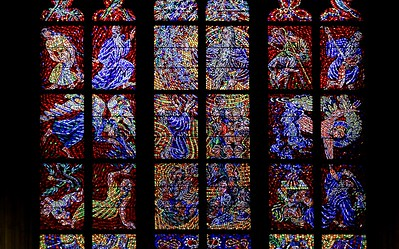 The stained glass at St. Vitus was unique. The size of each glass element is much smaller than normal. These pieces have no color variants or shading like most European stained glass. Each is a solid color. Not sure which technique requires more work, but I would guess this one.