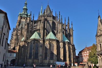 Backside of St. Vitus Cathedral, one of the more impressive Gothic churches in all of Europe.