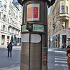 A solo outdoor toilet, right on the street in downtown Prague.  It was tiny.