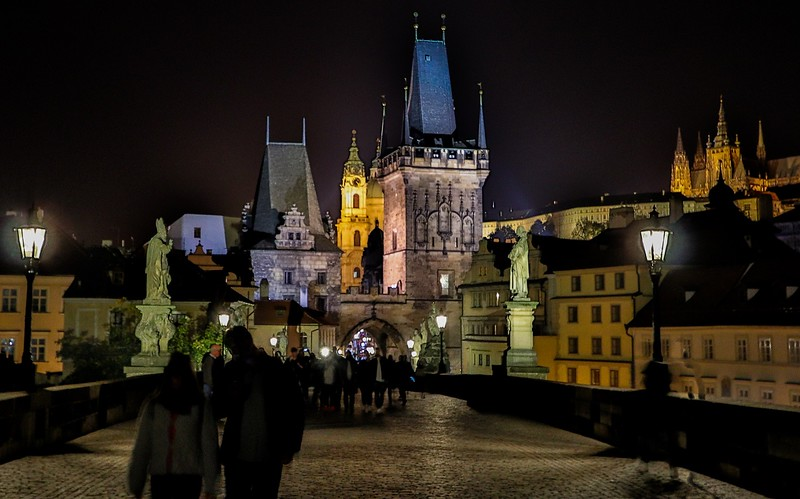 Prague was more photogenic at night. Crowds were way down, and lighting was great.