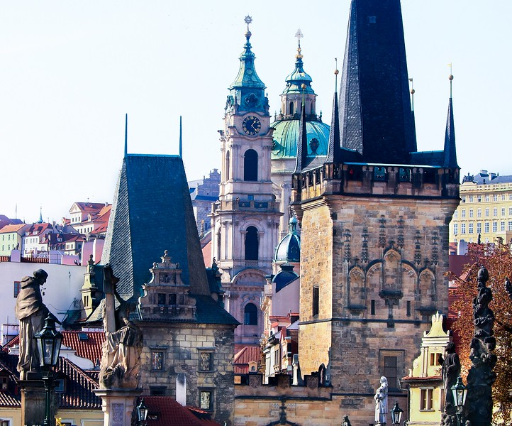 Telephoto view of Prague's famous bridge area.