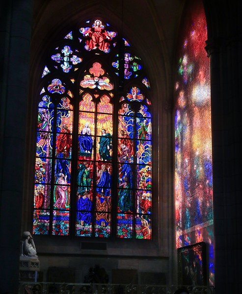 The previous stained glass shines on the adjacent wall creating some nice, soft shapes.