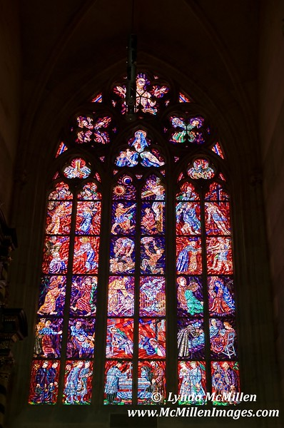Intricate Stained Glass of St. Vitus Church