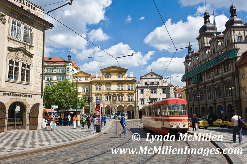 """Prague's """"lesser Town"""" and cable car."""