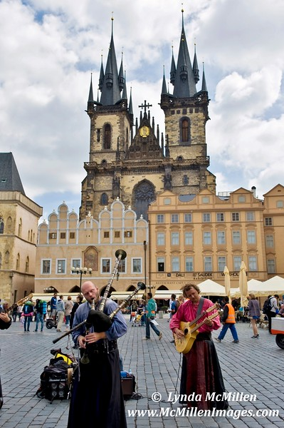 Minstrels in Prague's Old Town Square.