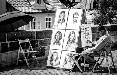 Street Artist on the Charles Bridge, Prague.