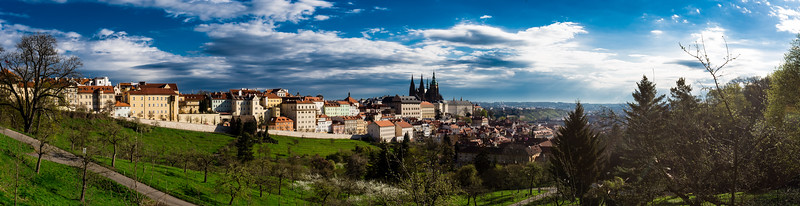 Panorama of the Prague Castle from the Petřín Gardens