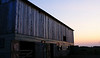 Sunset scenes on a new Amish barn