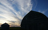 Barn and bin in the sunset afterglow