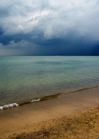 """Stormy Horizon"" Note Cards - 10 Cards and Envelopes  Available at <a href=""http://www.amazon.com/gp/product/B002VYUMLK"">Amazon</a> (Clicking the linke will take you to the Amazon.com site and away from the Prairie Perspectives Photography site.)  Lake Michigan, taken at Indiana Dunes National Lakeshore."