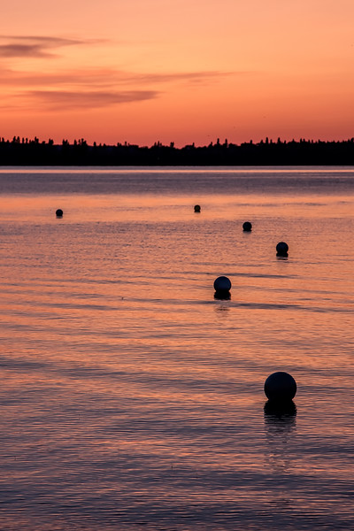 Sunset with Buoys on Water