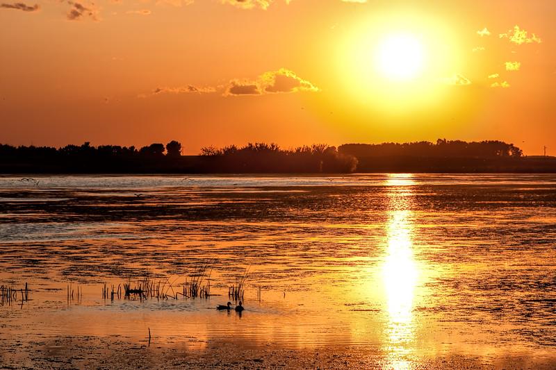 Prairie sunset on Pond