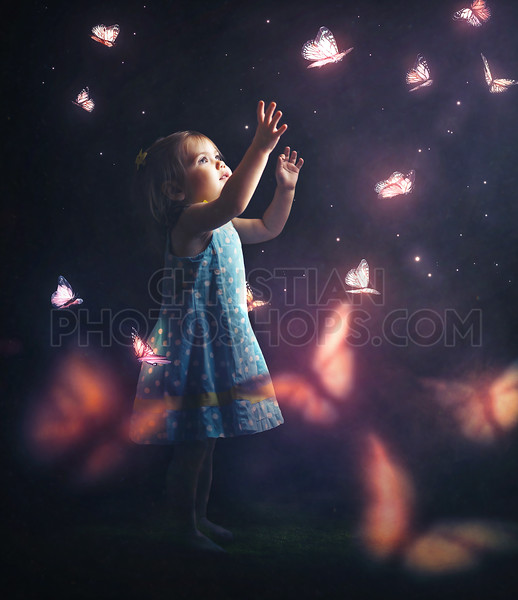 Litter girl chasing butterflies
