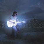 Glowing guitar at night