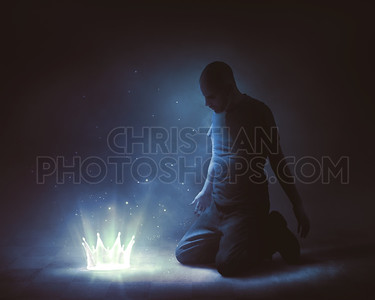 Man offering up a glowing crown
