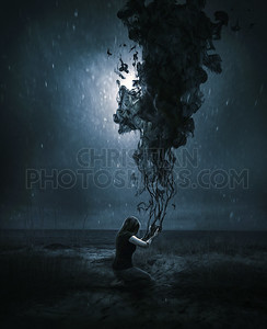Woman and dark cloud