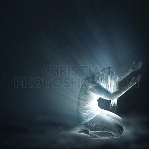 Kneeling with light