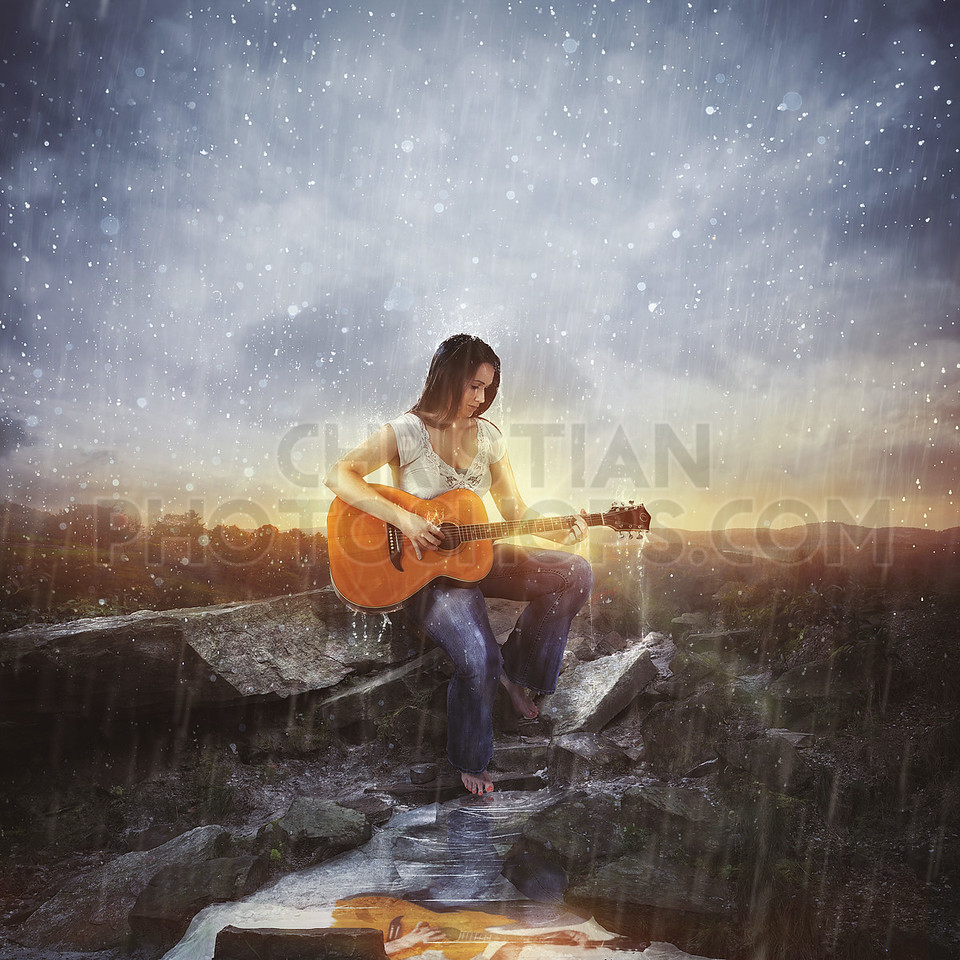 Playing music in the rain