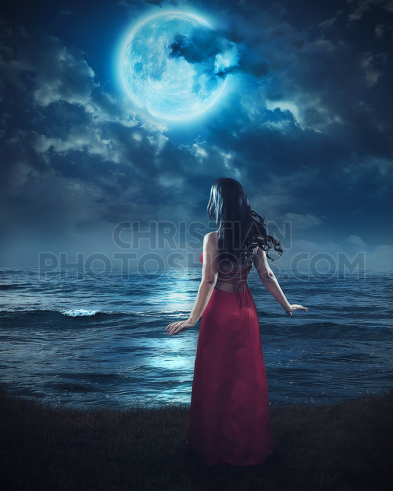 Woman and blue moon.