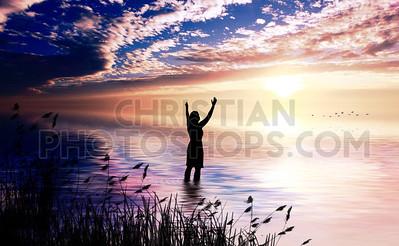 Woman praises in ocean