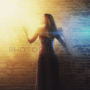 Woman looks at the light