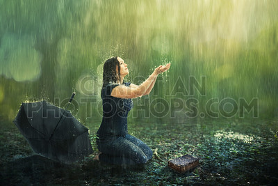 Woman and rain shower