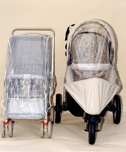 On the left is a 1986 Steelcraft 'Out and About' stroller and the 2006 Steelcraft 'Transformer' three wheel version on the right.