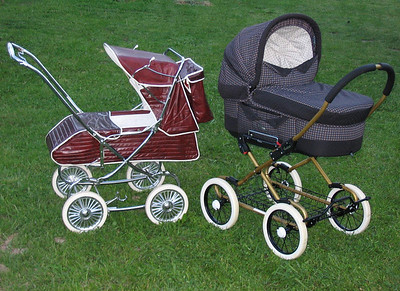 1977 Australian Steelcraft pram next to a 2000 series Emmaljunga Coronado from Sweden.