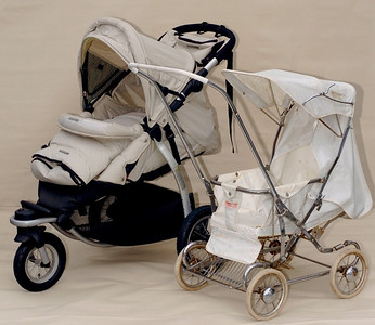 "Left: 2006 Steelcraft ""Transformer"" jogger. Right: 1963 Steelcraft pram (exact model to be checked)"